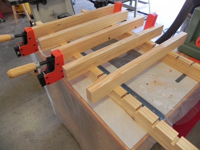 clamping jig with the bottom cauls in place